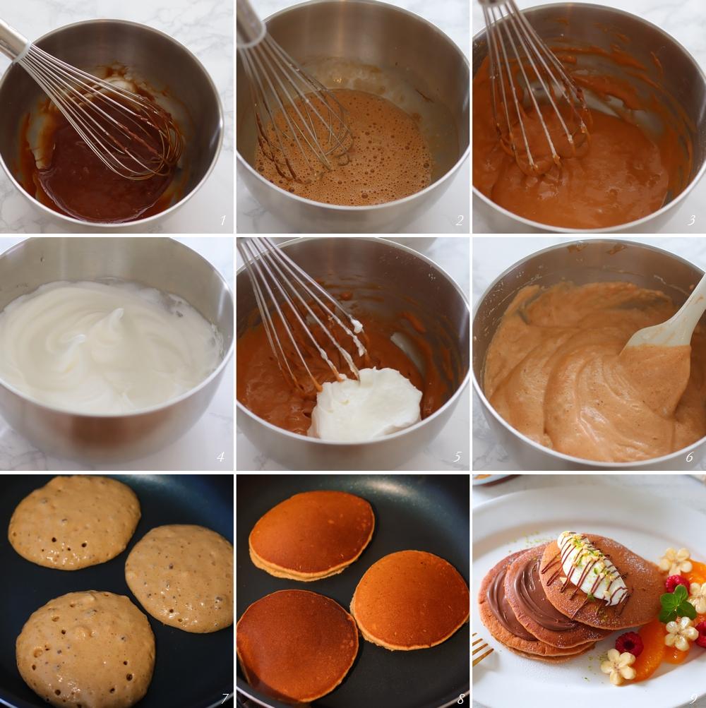 ヌテラパンケーキレシピ行程