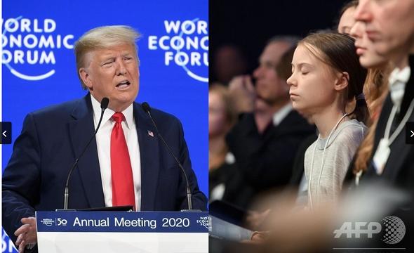 20200123ダボス会議トランプとグレタ