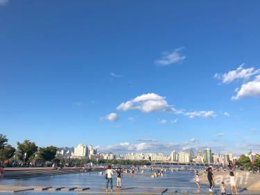 漢江公園にて。