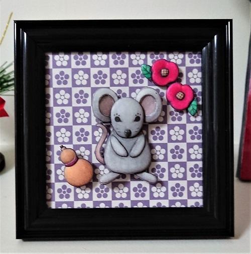 原画chiyo ohno シャドーボックス湯本千絵 令和2年干支 ネズミ