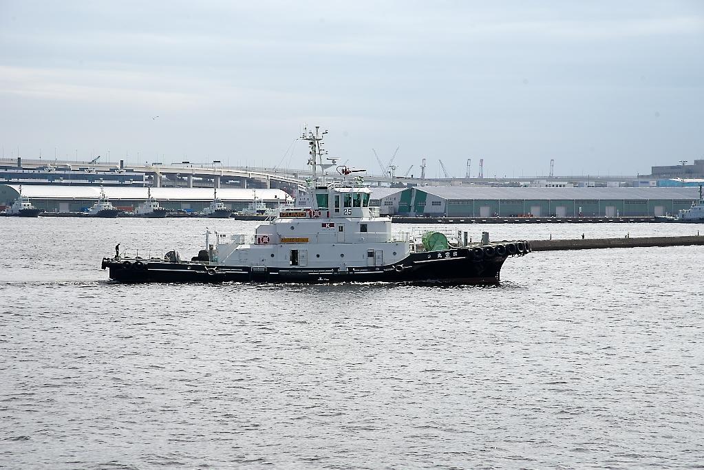 小型船舶が並走する