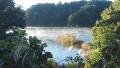 191109布目ダムのダム湖水面から湯気が立つ