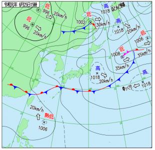 6月25日(火)15時の実況天気図