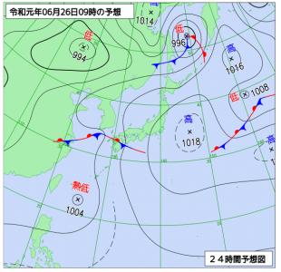 6月26日(水)9時の予想天気図
