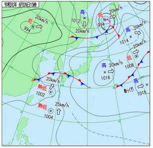 6月26日(水)15時の実況天気図