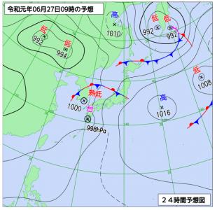 6月27日(木)9時の予想天気図
