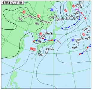 6月27日(木)15時の実況天気図