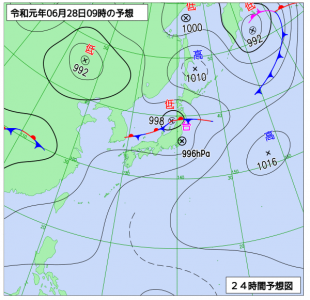 6月28日(金)9時の予想天気図