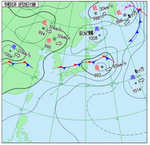 6月28日(金)15時の実況天気図