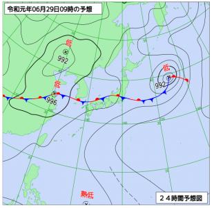 6月29日(土)9時の予想天気図