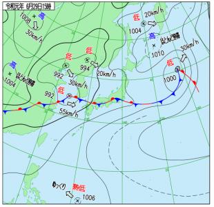 6月29日(土)15時の実況天気図