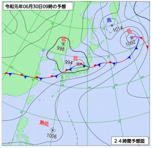 6月30日(日)9時の予想天気図
