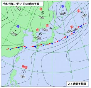 7月1日(月)9時の予想天気図