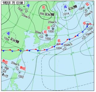 7月1日(月)15時の実況天気図