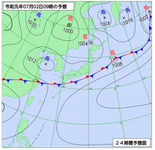 7月2日(火)9時の予想天気図