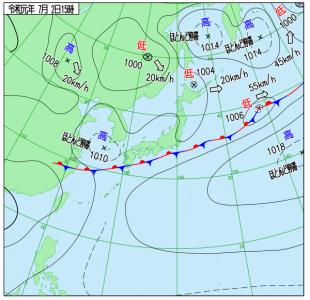 7月2日(火)15時の実況天気図