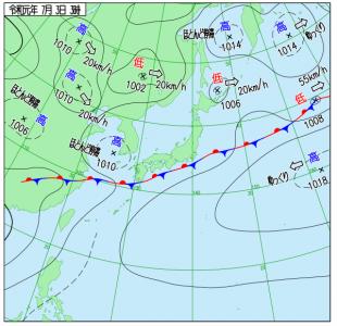 7月3日(水)3時の実況天気図