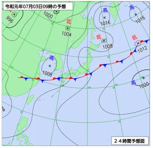 7月3日(水)9時の予想天気図