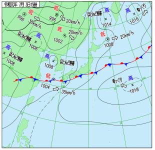 7月3日(水)15時の実況天気図