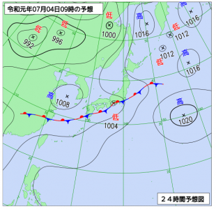 7月4日(木)9時の予想天気図