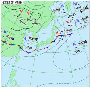 7月4日(木)15時の実況天気図