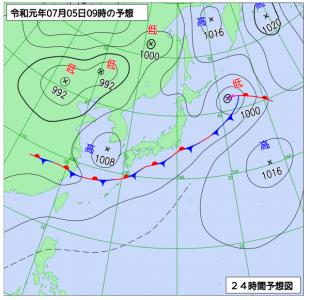 7月5日(金)9時の予想天気図