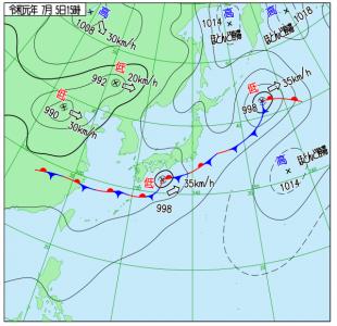 7月5日(金)15時の実況天気図