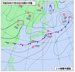 7月6日(土)9時の予想天気図