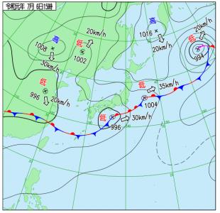 7月6日(土)15時の実況天気図