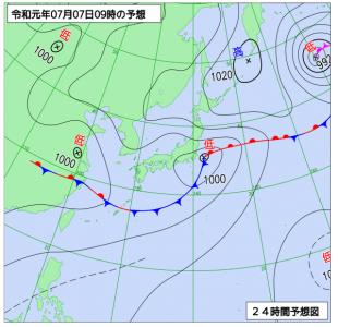 7月7日(日)9時の予想天気図