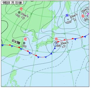 7月7日(日)15時の実況天気図