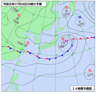 7月8日(月)9時の予想天気図