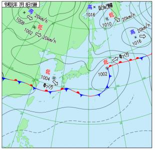 7月8日(月)15時の実況天気図