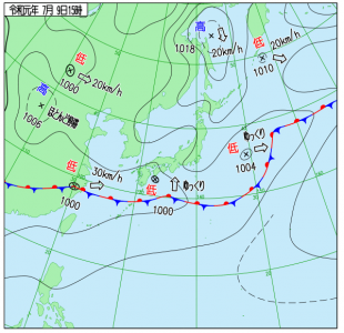 7月9日(火)9時の予想天気図
