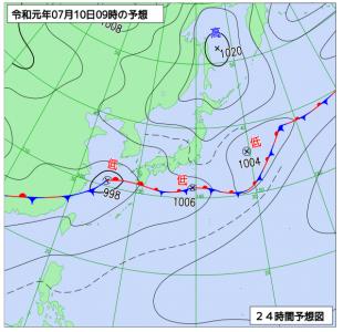 7月10日(水)9時の予想天気図