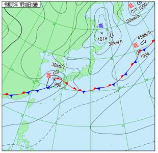 7月10日(水)15時の実況天気図