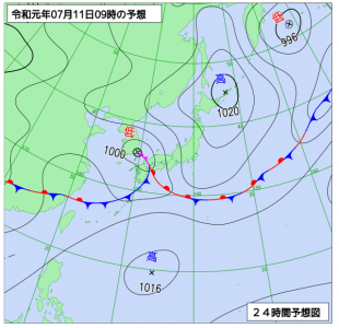 7月11日(木)9時の予想天気図