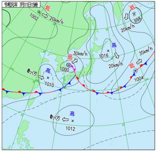 7月11日(木)15時の実況天気図