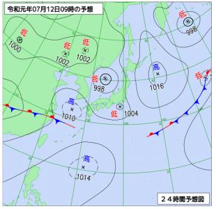 7月12日(金)9時の予想天気図