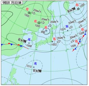 7月12日(金)15時の実況天気図
