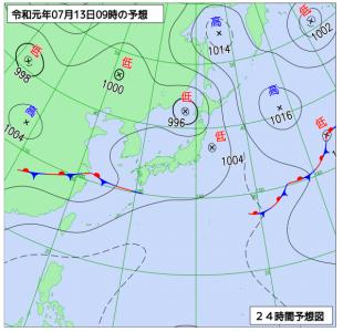 7月13日(土)9時の予想天気図