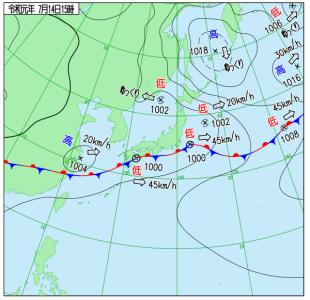 7月14日(日)15時の実況天気図