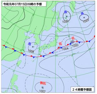 7月15日(月祝)9時の予想天気図