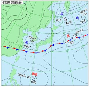 7月15日(月祝)15時の実況天気図