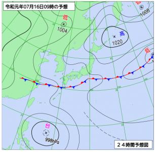 7月16日(火)9時の予想天気図