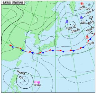 7月16日(火)15時の実況天気図