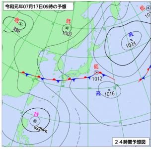 7月17日(水)9時の予想天気図