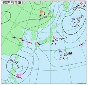 7月17日(水)15時の実況天気図