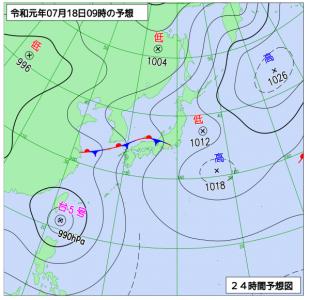 7月18日(木)9時の予想天気図