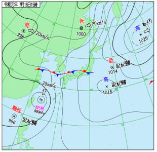 7月18日(木)15時の実況天気図